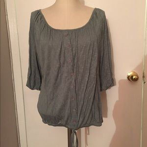 New Forever21 Green Button Accent Top Large